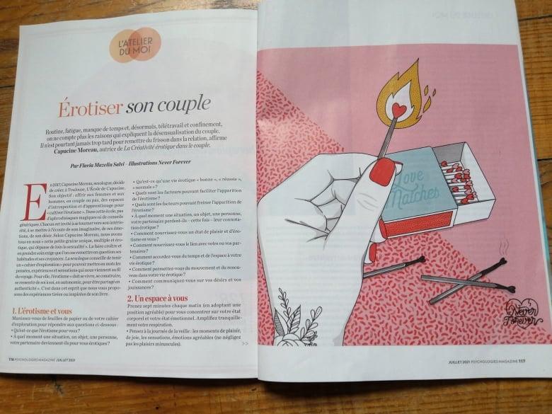 """""""La créativité érotique"""" dans le magazine Psychologies"""